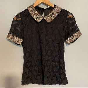 ISSI shirt with lace overlay and gold sequins
